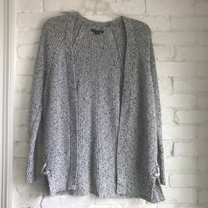 AMERICAN EAGLE | Speckled Grey Open Long Cardigan